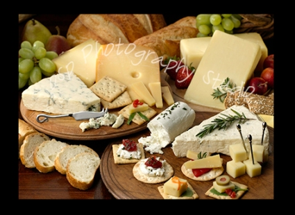 food photography of cheeses & breads
